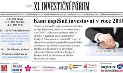 11. investiční fórum aneb kam úspěšně investovat v roce 2016