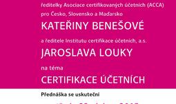"""Přednáška k tématu """"certifikace účetních"""""""
